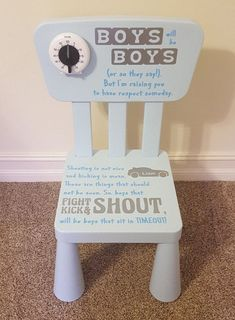 Time Out Chair with Timer Boys With Timer Timeout Chair Kid Chair - Jaxon Baby Name - Ideas of Jaxon Baby Name - Personalized Childrens Timeout Chair Boy by FoxEtchingDesigns Baby Boys, Toddler Boys, Toddler Boy Room Ideas, Toddler Rules, Time Out Chair, Toddler Chair, Kid Chair, Do It Yourself Organization, My Bebe