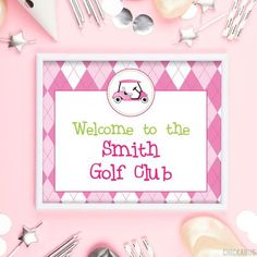 Use these 8x10 signs to make your party extra special! Welcome guests, label the food... Golf Party, Diy Party, Party Signs, Kid Names, Party Printables, Card Stock, Pink, Label, Make It Yourself