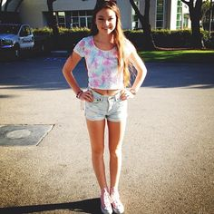 cute outfits for teens 020 Cute Teen Outfits, Cute Summer Outfits, Outfits For Teens, Cool Outfits, Summer Clothes, Teen Fashion, Love Fashion, Fashion Outfits, Crop Top And High Waisted Shorts