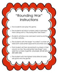 Rounding War Game and Asssessments! 4th Grade Math Games, Fourth Grade Math, Math Tutor, Teaching Math, Math Classroom, Future Classroom, Classroom Ideas, Rounding Numbers, Resource Room Teacher