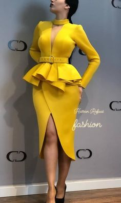 African Fashion Long Sleeve V-Neck Plain Split Womens Sheath Dress - Look Fashion Classy Dress, Classy Outfits, Chic Outfits, Fashion Outfits, Womens Fashion, Dress Fashion, Girly Outfits, Fashion Ideas, Vintage Outfits