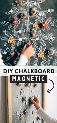 How to make a super EASY MAGNETIC chalk board! :) Perfect for christmas decorr, office organiztion, or kids playroom! Learn how to make magnetic ornaments too! #diychalkboard #chalkart Diy Christmas Ornaments, Christmas Decorations To Make, Holiday Crafts, Christmas Ideas, Christmas Chalkboard, Diy Chalkboard, Diy Crafts For Adults, Diy Crafts To Sell, Diy Craft Projects