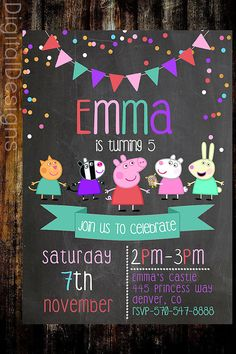 Peppa+Pig+Birthday+Invite+Peppa+Pig+Chalkboard+by+DigitalDesigns3