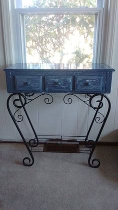 Painted with a blue gray that I mixed myself and then used a crackle glaze for a weathered finish. Painting Furniture, Blue Grey, Glaze, It Is Finished, Home Decor, Art, Enamel, Homemade Home Decor, Kunst