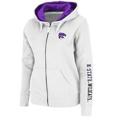 Kansas State Wildcats Ladies Titan Full Zip Hoodie - White, $49.95