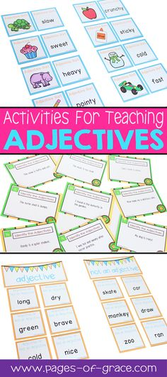 Are you looking for some fun ideas & activities for teaching adjectives? This unit is full of interactive worksheets, games, and center activities that will help your students master descriptive words. It includes 4 posters for bulletin boards or anchor charts, 9 worksheets, 3 activities for literacy centers or games, and a set of 24 task cards. For first grade, second grade, and advanced kindergarten. Add some fun to your grammar time! Click on the picture to see the detailed description.