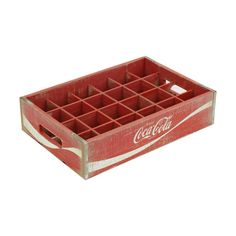 Crates and Pallet 16.875 in. x 11.5 in. x 4 in. Coca-Cola 24-Grid Divided Crate in Vintage Red-69056 - The Home Depot