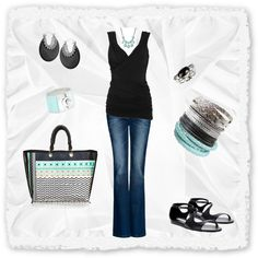 Aqua and Black, created by dtyler11 on Polyvore