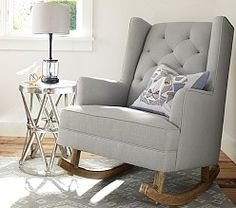 Tufted Wingback Rocker from Pottery Barn Kids Pottery Barn Kids, Pottery Barn Nursery, Baby Boy Rooms, Baby Cribs, Baby Room, Girl Rooms, Chair And Ottoman, Upholstered Chairs, Baby Nursery Furniture Sets