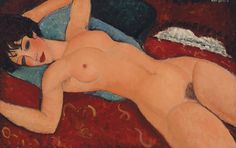Nu couché, 1918 by Amedeo Modigliani. Reclining nude w open arms Beatrice Hastings maybe