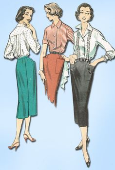 """Advance Pattern 8473 Misses' Skirt and Blouse Pattern Blouse has Back Tucks Dated 1957 Factory Folded and Unused Envelope is Very Worn Size 12 (30"""" Bust) We Sell the Best Vintage Sewing Patterns and E"""