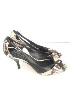 Saks Fifth Avenue Made In Italy  Open Toe Heels Pump Snake Skin Size 8 #SaksFifthAvenue #Pumps