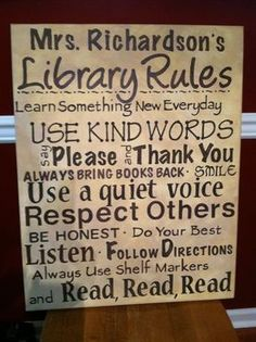 Love this Library Rules board! School Library Lessons, School Library Displays, Middle School Libraries, Elementary School Library, Library Themes, Library Posters, Library Skills, Library Activities, Library Ideas