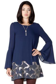 Blue Beaded Shift Dress