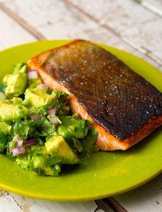 Salmon with avocado salsa. This is chinook salmon, California style. Simple. Easy. Fresh. Recipe from Hunter Angler Gardener Cook.  via @huntgathercook