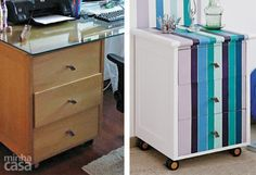 O antigo gaveteiro saiu do escritório e foi parar no quarto! Para torná-lo uma cômoda.