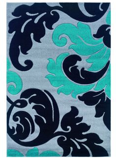 Linon Rugs Corfu Floral Grey/Turquoise Kids Rug & Reviews | Wayfair