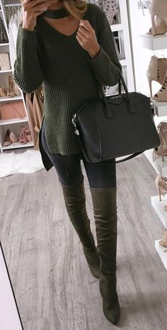 solid tallclosed knee length heels boots // black solid handbags // vertical stripes scoop neck no closures longhip length sweaters // black solid full length pants // Casual Winter Outfits, Chic Outfits, Fall Outfits, Fashion Outfits, Boot Outfits, Women's Fashion, Fashion Sale, Sweater Outfits, Fasion