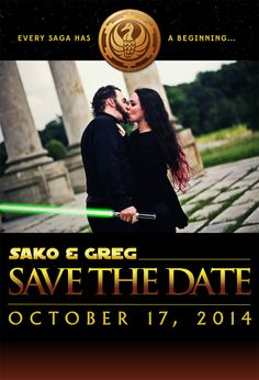 The Save The Date page for the wedding of Sako Davis and myself. We are having a Star Wars themed wedding. Star Wars Wedding, Geek Wedding, Star Wars Party, Dream Wedding, Wedding Stuff, Starwars, Engagement Photo Poses, Wedding Themes, Wedding Ideas