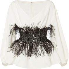 Elizabeth Kennedy V-Neck Blouse With Full Sleeves And Feather... ($3,550) ❤ liked on Polyvore featuring tops, blouses, white, embroidered top, sequin blouse, white v neck blouse, long sleeve sequin top and white sequin top