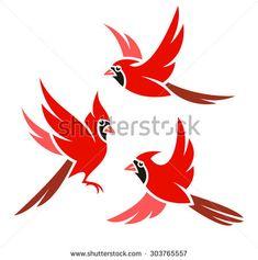 Stylized Bird - Northern Cardinal