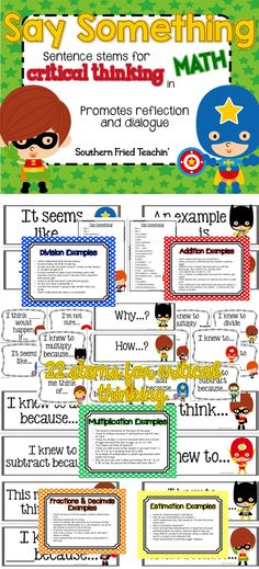 Say Something sentence stems are the PERFECT way to get your students thinking critically and promote reflection and dialogue in math! Students love them!