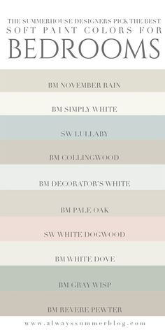 The SummerHouse designers weigh in on their favorite light paint colors for bedr. - The SummerHouse designers weigh in on their favorite light paint colors for bedrooms // alwayssumme - Best Bedroom Paint Colors, Paint Colors For Home, House Colors, Paint Colors For Hallway, Bedroom Colours, Bathroom Colors, Shabby Chic Paint Colours, Light Paint Colors, Farmhouse Paint Colors