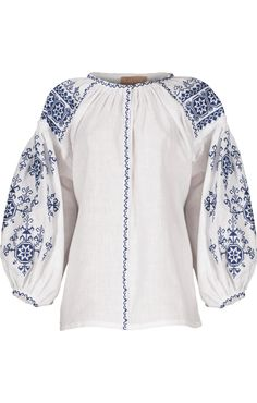 'Harmony' white blouse with blue embroidery | Varenyky Fashion