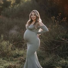 """Sweetheart Baby Shower Gown Long Sleeve - Sexy Mama Maternity """"I absolutely love my Sexy Mama Maternity dress. It fit so perfect and the fabric was so soft! I especially loved that they tailored the dress to fit me as well."""" -@allthingsnatalie_"""