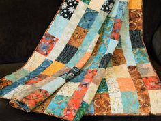 Quilts for Sale, Modern Batik Lap Quilt in Rich Shades of Blue Orange Brown and Golden Yellow, Quilts Homemade, Sofa Throws, Bed Coverlets by SusiQuilts on Etsy