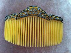 Beautiful Antique Art Nouveau Hair Comb Sterling Silver Paste Stones Perfect | eBay