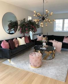 Put some blush on your home Living Room Decoration black and gold living room decor Cozy Living Rooms, Home Living Room, Apartment Living, Living Room Designs, Cozy Apartment, Black Sofa Living Room Decor, Black Sofa Decor, Black Furniture, Black And Gold Living Room