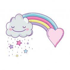 Cloud and rainbow cute cartoon Premium Vector Cute Easy Drawings, Cute Little Drawings, Art Drawings For Kids, Kawaii Drawings, Unicorn Wallpaper Cute, Rainbow Cartoon, Rainbow Drawing, Unicornios Wallpaper, Unicorn Art
