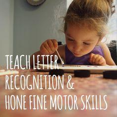 Learn letter recognition & hone fine motor skills dot painting with Q-tips. #kindergarten #reading