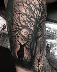 This slightly spooky forest scene. | 22 Magical Scottish Animal And Nature Tattoos That You'll Love