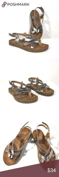 Bamboo Pewter Grey Metallic Sandals Super comfy and casual sandals. Beautiful metallic pewter color. Medium width and true to size. BAMBOO Shoes Sandals