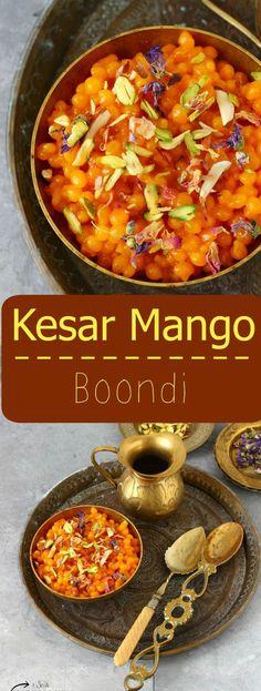 Kesar Mango Boondi - Deep fried gram flour pearls soaked in Mango sugar syrup !