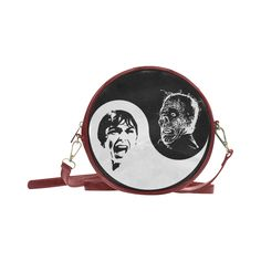 Yin Yang Horrorshow Round Messenger Bag (Model 1647) @artsadd  - Save 20% Off Discount Coupon Code: ARTSADD  Free Worldwide Shipping.#accessories #retro #horror #halloween #yinyang #psycho #popart #scream #coolbags #fashion #artsadd #bags #handbags #hitchcock #horrorfanart #horrorfans White Ink, Black And White, Yin Yang, Scream, Messenger Bag, Horror, Coupon, Handbags, Retro