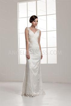 Sheath/Column Straps Floor-Length Satin Wedding Dress WD010831