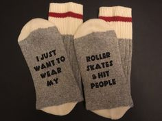 If You Can Read This... Socks, I Just Want To Wear My Roller Skates And Hit People, Roller Derby, Roller Skates, Friend Gift, Team Gift