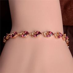 H:HYDE Fashion and new jewelry Gold Color 5 Colors CZ colorful Austrian Crystal elegant shiny bracelet for gift pulseira feminin