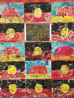 One of the teachers at my school did this with her year 4s as an activity for NAIDOC Week. They used old magazines and ripped colours out and stuck them to a page. The teacher then explained the significance of Uluru and the Aboriginal Flag.