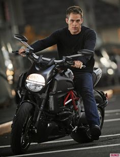 When he's not piloting the Starship Enterprise, Captain Kirk a.ka. Chris Pine can be found trying to achieve warp speed on a Ducati Diavel.