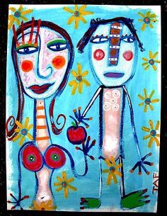 Adam and Eve in the Garden....acrylic on watercolor paper. To think if Eve didn't tempt Adam with that apple...what would be...