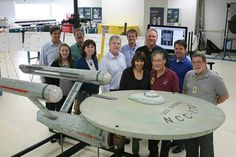 A model of the USS Enterprise from Star Trek : TOS  in a museum