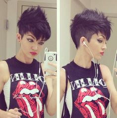 If you want go with a drastic style change, mohawk pixie style is the best option for you! So here we have gathered Cool Mohawk Pixie Cut for you to get. Short Hair Undercut, Undercut Hairstyles, Funky Hairstyles, Short Hair Cuts, Pixie Cuts, Punk Pixie Haircut, Punk Pixie Cut, Short Pixie, Haircut Short