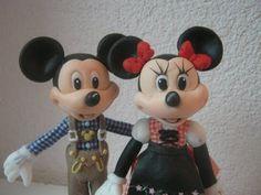 Mickey ou Minnie Mouse - , corpo, cabeça e proporçoes -Topo/ Lembrancinhas/ Biscuit / Porcelana fria