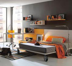 Bedroom Design, Modern Baby Nursery and Kids Room Furniture from Kibuc: Dark Grey And Orange Boys Bedroom With Study Desk (DF)