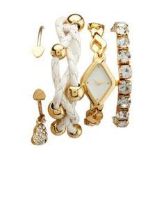 diamond watch & bracelet 4-piece set
