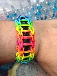 oh, Chaya Sarah,,, Rainbow loom bracelets. Loom Band Patterns, Rainbow Loom Patterns, Rainbow Loom Creations, Loom Love, Fun Loom, Loom Band Bracelets, Rubber Band Bracelet, Rainbow Loom Bands, Rainbow Loom Bracelets